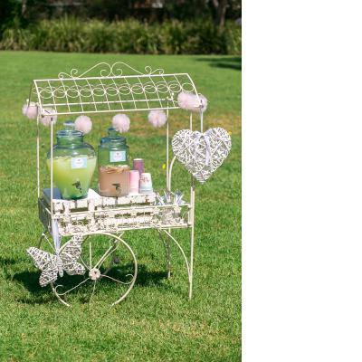 French Metal Tea Cart - white or pink